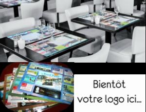 set de table publicitaire avec encart pub marignane