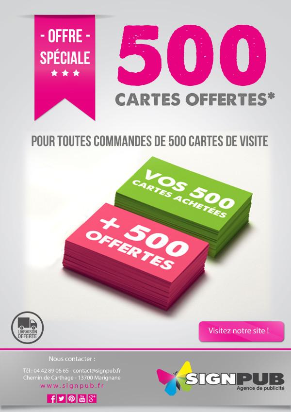 PROMO 500 CARTES DE VISITES = 500 CARTES DE VISITES OFFERTES